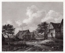 "Detailed RUISDAEL 1800s Engraving ""The Old Dutch Cityscape"" Signed FRAMED COA"