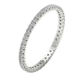 Eternity Wedding Ring SI1 G 0.50 Carat Natural Diamond Prong Set 14K White Gold