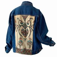 70s Vintage Denim Patched Embroidered Boho Bohemian Trucker Blue Jean Jacket XL