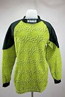 Diadora VTG Goalkeeper Jersey Sz L Padded Sleeves Black Green Soccer Italy Made