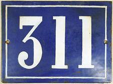 Large old blue French house number 311 door gate plate plaque enamel steel sign