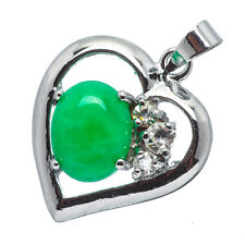 Chinese Emerald Green Jade Jadeite 18K White Gold Plated Heart Pendant #011