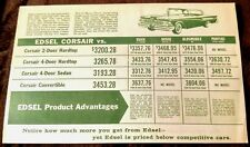 Ford Edsel 2-Sided Sales Comparison Sheet v Chevy, Plymouth, Pontiac, Dodge Rare