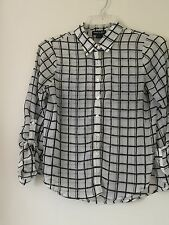 ABOUT A GIRL LOS ANGELES CREAM BLACK STRIPE SEXY TOP BLOUSE SIZE S