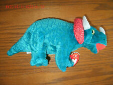 Ty Beanie Baby Hornsly w/ tags mint plush stuffed animal aqua dinosaur