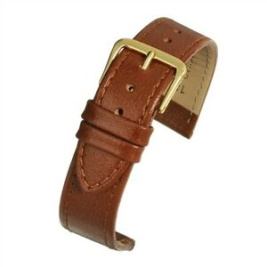 Mens 18mm genuine real leather tan buffalo grain watch strap band