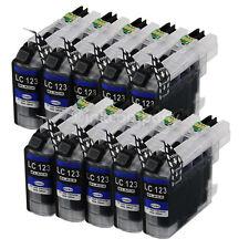 10x Tintenpatrone für BROTHER LC121BK LC123BK LC127BK mit Chip, (schwarz/black)