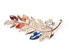 with Coloured Rhinestones Gold Tone Flower Brooch