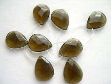 Smoky quartz faceted tear drop beads 30x40 mm