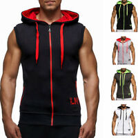 Men Sleeveless Zip Up Hoodie Vest Shirt Muscle Gym Tank Top T-Shirt Sweater Coat