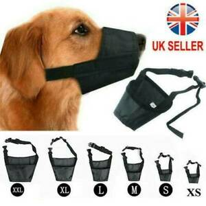 Adjustable Nylon Dog Safety Muzzle Muzzel  Biting Barking Chewing All Sizes