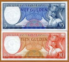SET Suriname / Surinam, 5;10 Gulden 1963, P-120-121 UNC