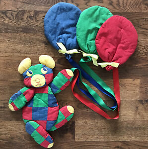 Vintage Quilted Bear Balloons Patchwork Plaid Wall Hanging Nursery Colorful Baby