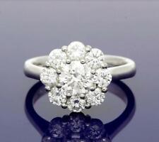 2.00ct Daisy Cluster VVS1-F Moissanite Diamond Engagement Ring 09Ct White Gold