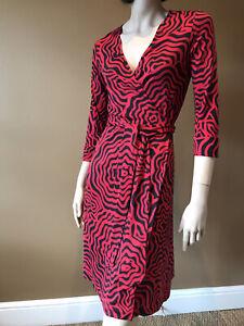 DIANE VON FURSTENBERG 100% SILK BLACK RED WRAP DRESS US 12