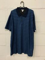 "Men's Calvin Klein (CK) Short Sleeve Polo Shirt Striped Blue XL 46"" Chest Slim"