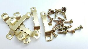 Saw Tooth Hangers 45mm With Screws Picture Canvas Frame Hanger Brass Plated