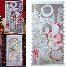 Christmas Door Window Curtain LED Light Santa Xmas Snowman Wall Hanging Decor US