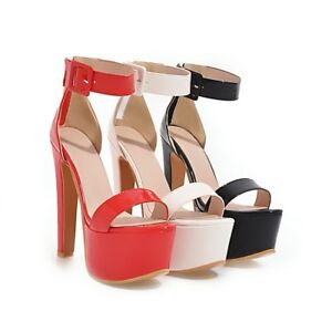 Ladies Shoes Synthetic Leather Platform High Heels Strappy Sandals AU Size s977