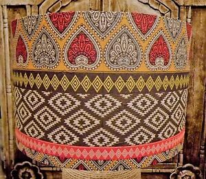 Indian Pattern Lampshade Rust brown Yellow Shabby Chic lamp shade FREE GIFT