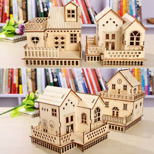3D Wooden House Kit Building Model Villa With LED Light Toy Home Xmas Decor DIY