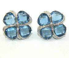 Cushion Blue Topaz & Diamond Flower Stud Earrings 14K White Gold 10.12Ct