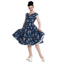 Hell Bunny Salina Navy Blue Nautical 1950s Vintage Retro Swing Holiday Dress