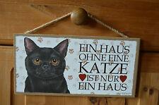 Türschild Tierschild Schild Tafel Holzschild Deko Bild ♥ Ein Haus.... Katze NEU
