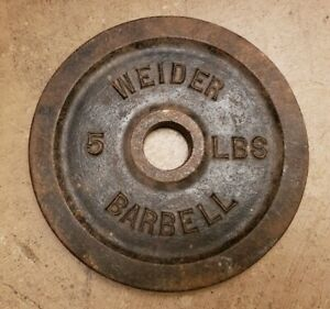 Single Weider Barbell 5lb Standard Weight Plate Cast Iron Blank side rare vtg