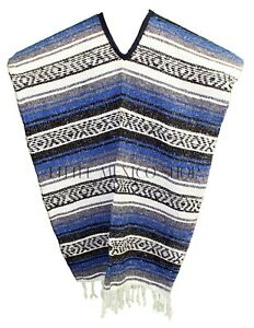 Traditional Mexican Poncho - ROYAL BLUE - ONE SIZE FITS ALL Blanket Serape Gaban
