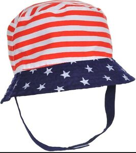 LITTLE ME BABY BOYS' PATRIOT CHILL USA STARS & STIPES REVERSIBLE SUN HAT NWT.