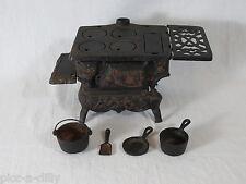 Antique -Crescent Miniature Cast Iron Stove + Accessories Pots -Salesman Sample
