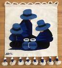 "Jose C Cotacachi 100% Wool Handwoven Signed Tapestry Ecuador 21"" x 21"" Weaving"