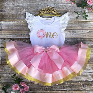 Newborn Baby Girl 1st Birthday Lace Outfit Romper Top Tutu Skirt Cake Smash Set