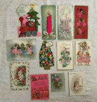 Vintage Christmas Cards Pinks Lot Of 12 Angel Candle Train Junk Journal Used