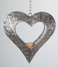 Hängedeko Herz als Kerzenhalter in Capri Silber 22cm Teelichthalter Geschenkidee