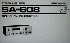 manuale utente amplificatore SA-608 hifi stereo pioneer carta formato a4