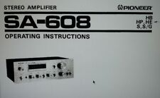 User Manual sa-608 Amplifier Hifi Stereo Pioneer a4 format drawing