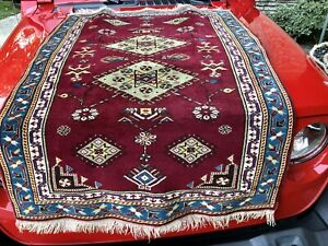 Auth: 40's Antique Anatolian Melas Rug  Collectors   Turkish Wool Purple  3x5 NR