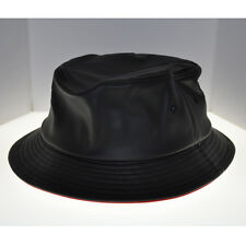 BLVCK LABEL BLACK LEATHER BUCKET STYLE HAT RED INNER LINING BRAND NEW SIZE LARGE