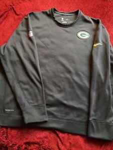 Nike Mens 3XL NFL Green Bay Packers Therma Fit Graphite Gray Fleece Sweatshirt
