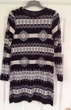 New With Tags Atmosphere Ivory Grey & Black Long Sleeve Knitted Dress Size M