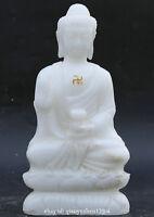 China Natural White Jade Hand Carved Buddhism Shakyamuni Amitabha Buddha Statue