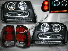 02-09 CHEVY TRAILBLAZER CCFL HALO RIM PROJECTOR BLK HEADLIGHTS + LED TAIL LIGHTS