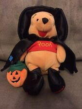 "NEW Disney Store Winnie the Pooh Witch Bear 8"" Bean Bag Stuffed Animal w Pumpkin"