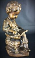 Ancienne (art déco ) statuette d'ap «La lliseuse»  en plâtre à patine bronze