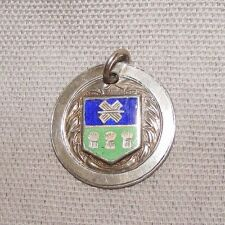 ANTIQUE 1925 SILVER & ENAMEL MEDAL FOB ROUNDERS HUNTER'S BAR SHEFFIELD