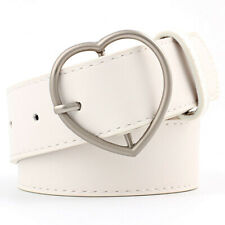 Women Leather Belts Real Heart Buckle Waist Wide Belt For Dress Jeans Waistband