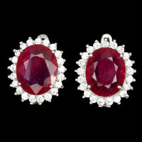 Oval Red Ruby 12x10mm Cz 14K White Gold Plate 925 Sterling Silver Earrings