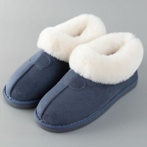 Women Slippers Winter 43-46 Fur Slides Sewing Flat Shoes Plush Suede Warm Shoes